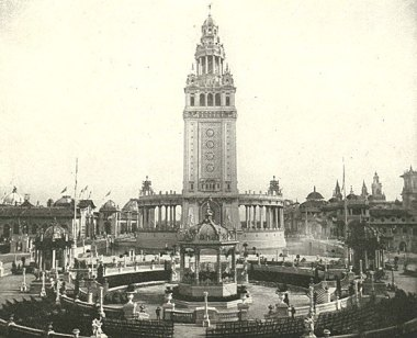 The Original Electric Tower and the Bandstand at the Pan-Am -- Image: https://library.buffalo.edu/pan-am/exposition/music/bandstands.html